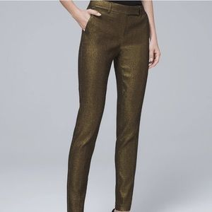 White House Black Market Gold Slim Ankle Pants